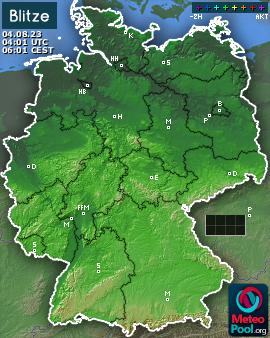 Blitzkarte für Deutschland, letzte 2 Stunden