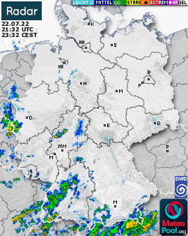 Niederschlagsradar(Wetterradar) für Deutschland