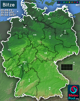 Lightning map for Germany, past 2 hours
